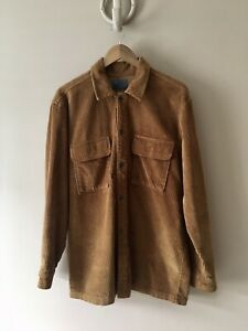Zara Mens Brown Tan Cord Work Style Shirt Size Medium