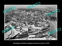 OLD POSTCARD SIZE PHOTO OF KNOTTINGLEY ENGLAND AERIAL VIEW OF TOWN c1950