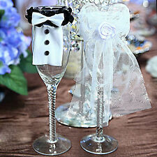 New Couple Wedding Party Wine Glass Decor Bride Groom Tux Bridal Veil Toast Gift