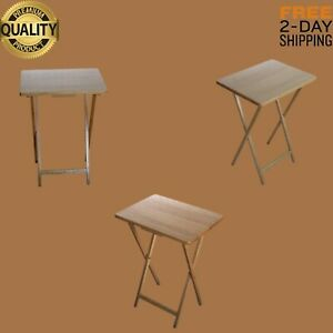 Folding tv  laptop Tray portable wood Table drinks and snacks outdoor indoor