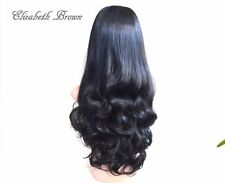 Beautiful Layers Off Balck Long Curly 3/4 Wig Hairpiece Half Wig 098