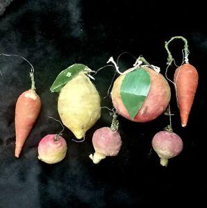 USSR Soviet Christmas tree toys Fruits Vegetables spun cotton Antique Papier