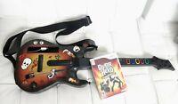 Wii Guitar Hero Red Octane Starburst Guitar W/ Strap Stickers & World Tour Game