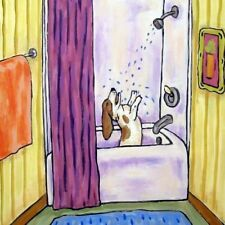 basset hound shower bathroom picture dog art tile coaster