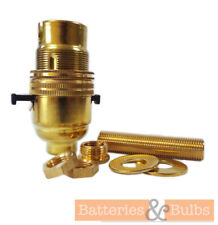 Brass Lamp Holder Kit B22 Switched with 10mm Threaded Rod, Reducer & Nuts