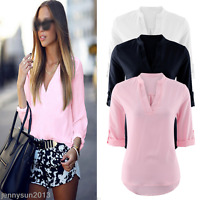 NEW Women Summer Blouse V-neck Short Sleeve Ladies Top T Shirt Loose Casual Tops