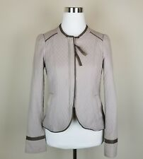 NEW FREE PEOPLE Women's Sz 2 Quilted Peplum Jacket Faux Leather Trim C1356