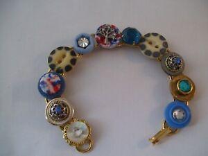 Stacked Vintage Button Bracelet Tree Rhinestones Hand Made Wearable Art OOAK C