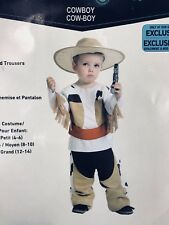 New Cowboy Halloween Costume Child Boy Sm 4-6 Hat Shirt Trousers Rodeo Western