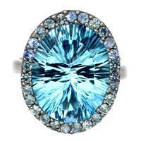 Handmade Oval Concave Sky Blue Topaz 13.54ct Sapphire 925 Sterling Silver Ring 8