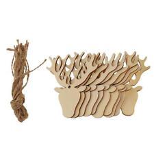 10x blanc noël tête de cerf découpe en bois étiquettes de cadeau de