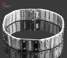 Men's Screw Link Genuine Diamond Bracelet 2.15 Carat 14k Solid White Gold 53.4g