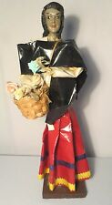 Vintage Xalisco Mexico Paper Mache Statue Woman selling flowers out of basket