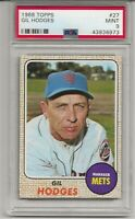 1968 TOPPS #27 GIL HODGES , PSA 9 MINT, SET BREAK-  NEW YORK METS, L@@K