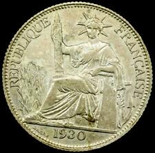 1930 A FRENCH INDO-CHINA Silver 20 Cent Coin~AU