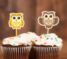 15x Owl Cupcake Topper Cute Owl Baby Shower Birthday Cupcake Topper