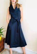 NEW Karen Millen Navy Blue A-line Midi Maxi Wrap Dress Uk 10 Belt Pockets Cotton