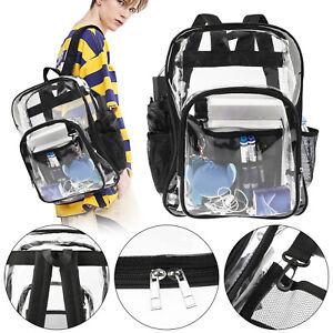 Clear Backpack Transparent PVC Work School Bag Security Heavy Duty Large Bookbag