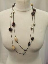 Long Strand Multi- Facet Beads Brown Beige Tones