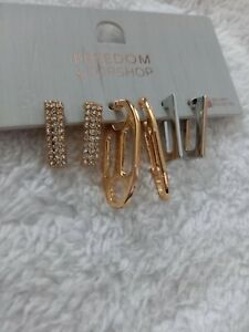 Topshop Freedom Set Of 3 Drop Gold And Silver Earrings