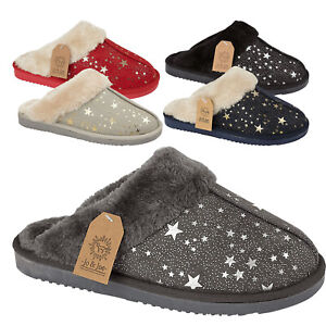 Ladies Fur Lined Slippers Womens Hard Sole Clog Warm Winter Mules Shoes Sizes Uk