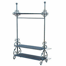 Sturdy Vintage Style Black Metal Iron Finish Hanging Display Stand Clothes Rail