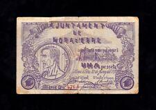 F.C. MORA D'EBRE , 1 PESSETA 1937 , SERIE C , MBC , SUCIO .