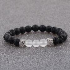 24kt Silver 8MM Lava Beads Crown Zircon Balls Transparent Agate Men's Bracelets
