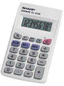 Sharp SHREL233SB Handheld Calculator, 8 Display Digits