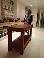 Oak butchers block kitchen island rustic reclaimed made from solid English Oak