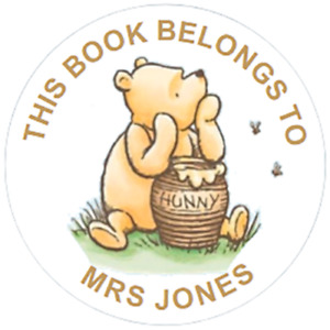 48 Personalised THIS BOOK BELONGS TO Winnie the Pooh 40mm Labels Stickers