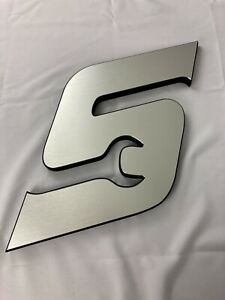 """New Snap-On ® Tools """"S"""" Shop Wall Logo Hanging Metallic SILVER 12""""x16"""""""