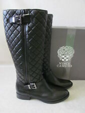 VINCE CAMUTO FREDRIC BLACK LEATHER TALL BIKER BOOTS SIZE 9 1/2 M - NEW