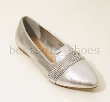 WOMENS LADIES DIAMANTE SLIP ON FLATS LOAFERS TRAINERS PLIMSOLLS PUMPS SHOES SIZE