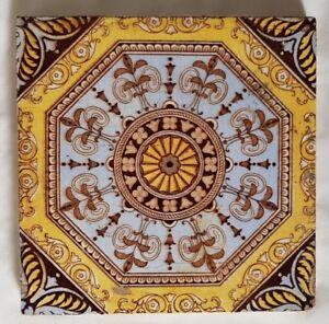 STUNNING SYMMETRICAL REGAL ARTS AND CRAFTS TILE . CIRCA 1880-1910