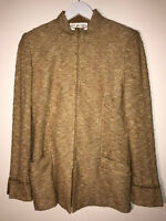 St. John couture gold/brown jacket with suede & chains detail sz 6 made in USA