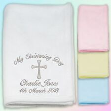 My Christening Day Embroidered Baby Fleece Blanket Gift Personalised