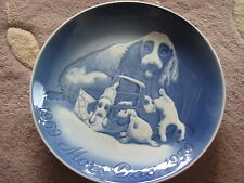 """B & G Denmark 1969-1979 Mothers Day Jubilee Plate Dog/Puppies Mors Dag, 9"""" Dia"""