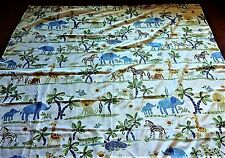 SHOWER CURTAIN  Print Fabric JUNGLE ANIMALS Cute Elephants Monkeys Zebra Giraffe