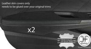 BLACK STITCH 2X DOOR ARMREST REAL LEATHER COVERS FITS HONDA ACCORD COUPE 08-12