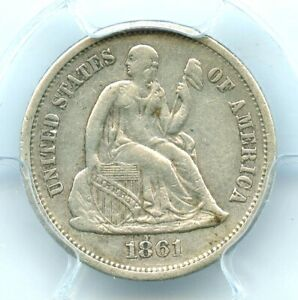 1861-S Liberty Seated Dime, PCGS XF40, Scarce Date