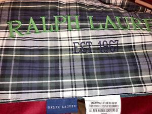 Polo Ralph Lauren King Plaid Blue Green Foen Embroidered Comforter Reversed Navy