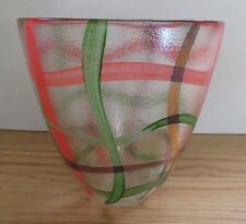 24K GOLD VASE Plaid Green Red-Orange HAND-PAINTED ITALY Textured Clear Glass EUC
