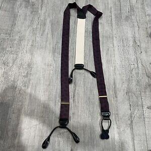 Trafalgar Suspenders Braces Silk Maroon Purple Pattern