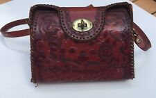 Vintage Clifton's Hand Tooled Leather Purse / Floral Embossed Shoulder Bag Flaw