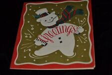 Vtg 50's SNOWMAN ACCORDION Christmas New Year's Card Paper Craft C-246 Used