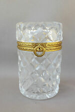 French Antique Ormolu Cut Crystal Glass Jewelry Casket Trinket Box Large Round