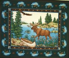 NEW LARGE MOOSE IN STREAM PANEL WALL HANGING CRAFTS FABRIC MATERIAL 4 QUILTS #1