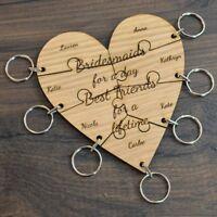 Personalised Jigsaw Heart Keyring Set - Hen Party Bridesmaid Gift Lot