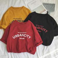 Women Solid Tshirts Korean T Shirt Loose Casual Tops Short Sleeve Print Tee JCAU
